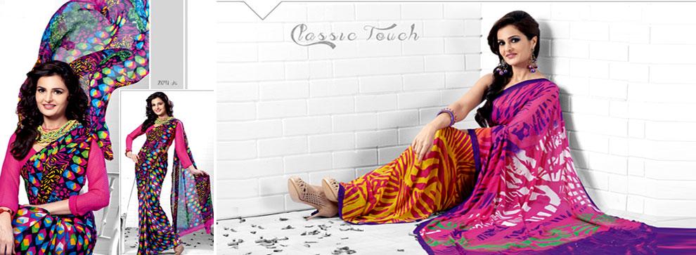 Violet Fashion Rainbow Sarees Banner