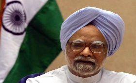 Manmohan Singh with Flag