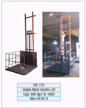 Single Mast Goods Lifts