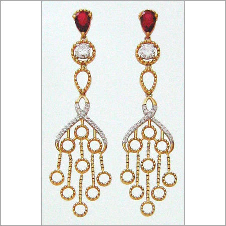DESIGNER GOLD EARINGS WITH PRECIOUS STONES