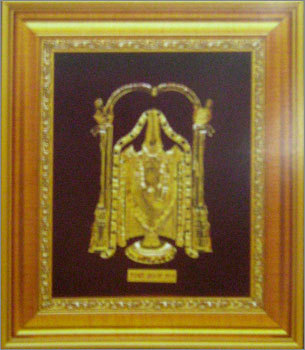 GOLD TIRUPATI BALAJI COMMEMORATIVE FRAME