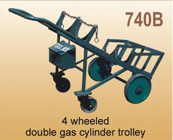4 Wheeled Double Gas Cylinder Trolley