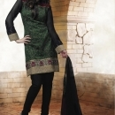 Bottle Green With Black Salwar Suits