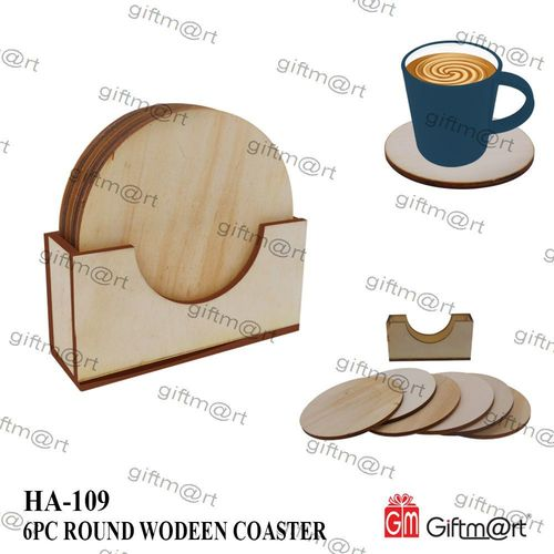 6 Pcs. Square Wooden Coaster