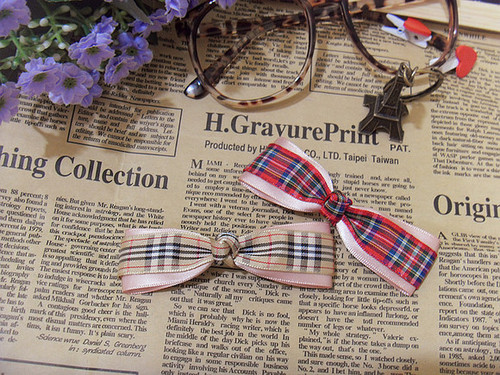 Handmade Scotish Ribbon Bows For Girl Hair Decoration