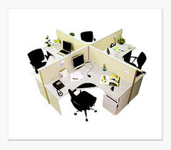 L-Shape Four Seater Modular Workstation