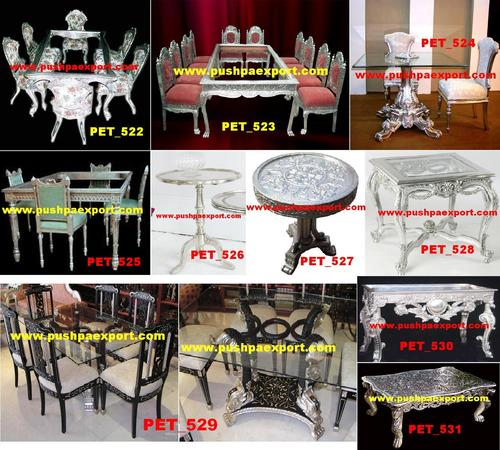 White Metal Wooden Carved Dining Table