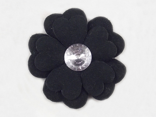 Handmade Flock Fabric Flower with Acrylic