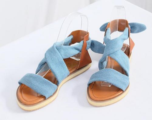 Calceus Open Toe Cross Belt Elastic Band Flat Sandals