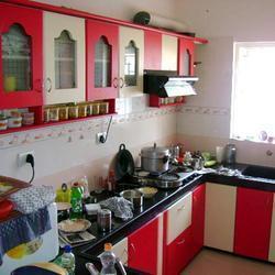 Red theme modular kitchen furniture in coimbatore tamil for Kitchen design in tamilnadu