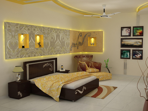 Master bedroom interior decoration services in noida for Bedroom wallpaper designs india
