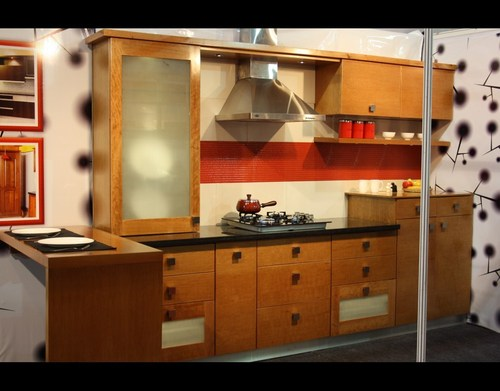 Wooden modular kitchen in kottayam kerala india for Wooden modular kitchen designs