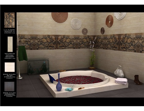 Lily flower design 295x900mm tiles in kachiguda hyderabad for Bathroom tile designs in india