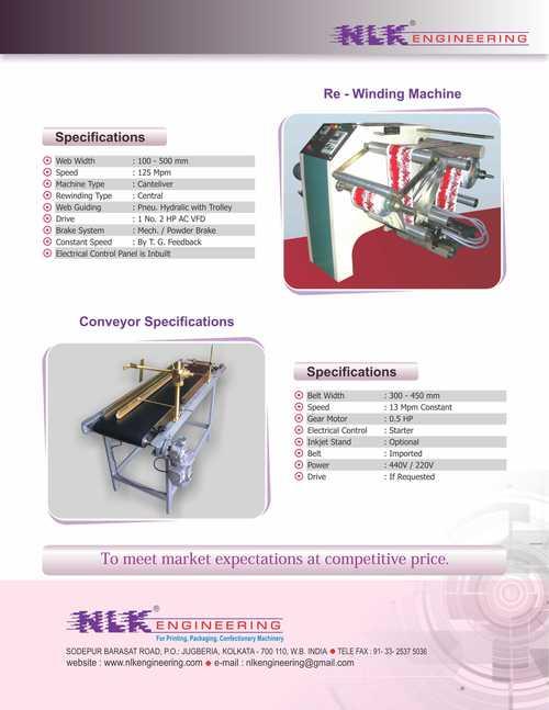 Rewinding Machine And Conveyor