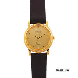 Men Golden Dial Wrist Watch