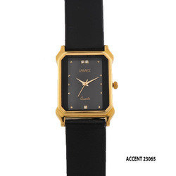 Men Black Leather Band Watch