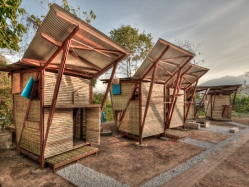Small Iron Wood Prefab Houses With Butterfly Roof