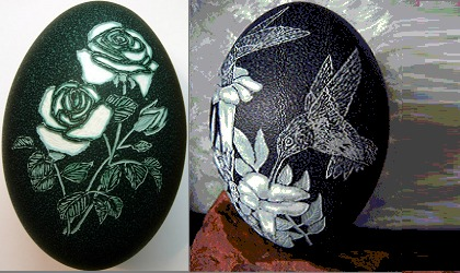 Emu Carved Eggs