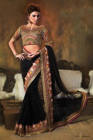 Image result for black colour saree photo