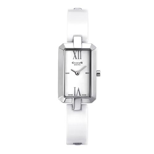 Quartz Ceramic And Stainless Steel Bracelet Rectangle Watch