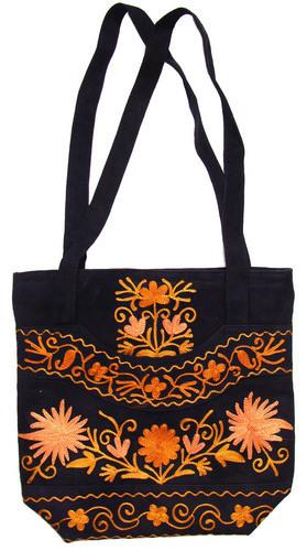 Kashmiri embroidered suede leather bag in srinagar jammu