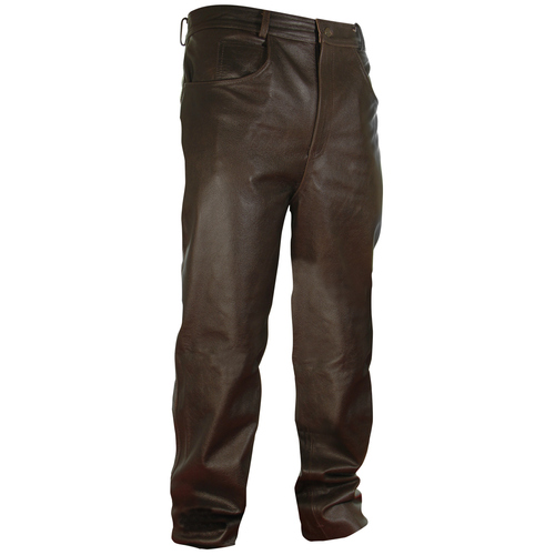 Classic Fit Brown Leather Pants