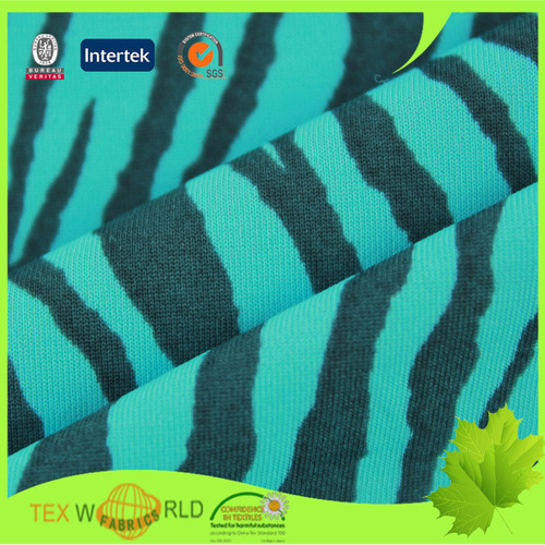 Zebra Stripe Printed Knitting Stretch Nylon Spandex Fabric (Jns018)