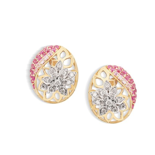 Yellow Gold Diamond Ruby And Sapphire Stud Earrings