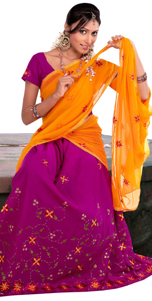 Magenta And Orange Color Pavada Davani (Half Saree)
