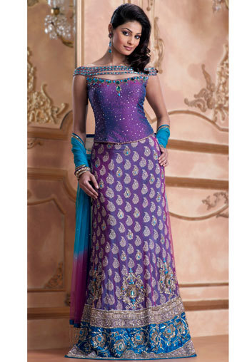 Purple Colour Ghagra Choli