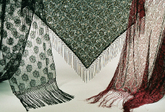 Jacquard Net Scarves with 5-Knot Fringe