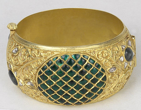 Emerald And Enamel Bangle