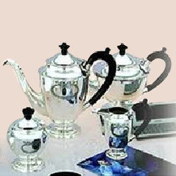 Silver Ribbon Tea And Coffee Set With Tray