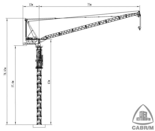 Tower Crane Sizes : Luffing tower crane in langfang hebei china cabr