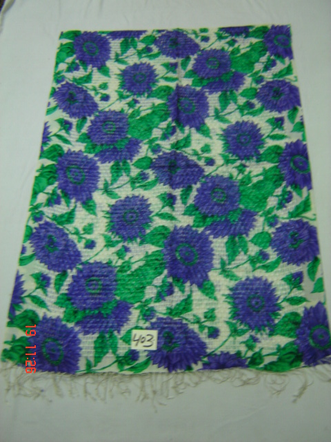 Silk Multi Floral Basket Weave Shawl