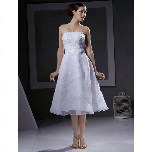 Aline Strapless Tealength Wedding Dress with Beaded Appliques HSX1200