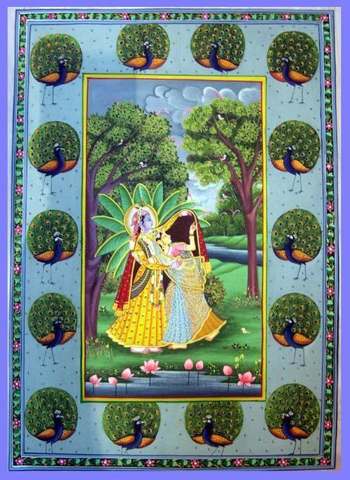 Krishna Radha Miniature Paintings Radha Krishna Silk Paintings