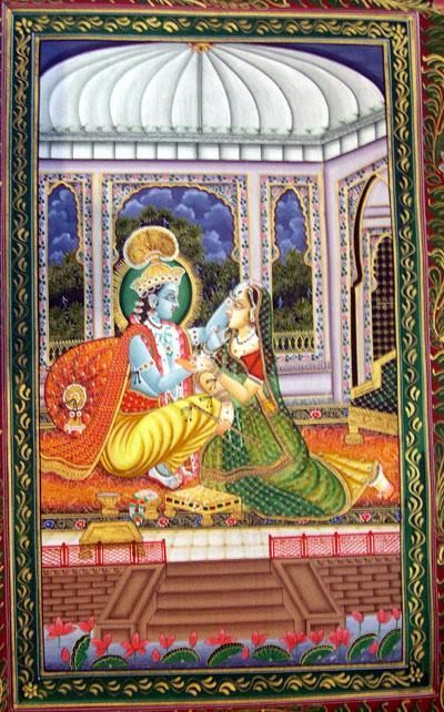 Krishna Radha Miniature Paintings Radha Krishna Painting on Silk