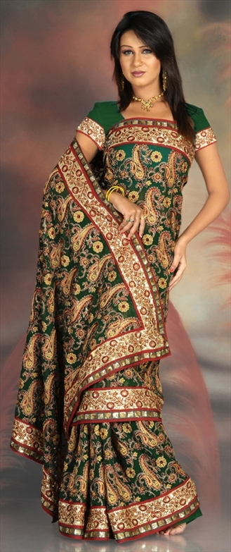 Machine Embroidery Work Georgette Sarees In MI Road