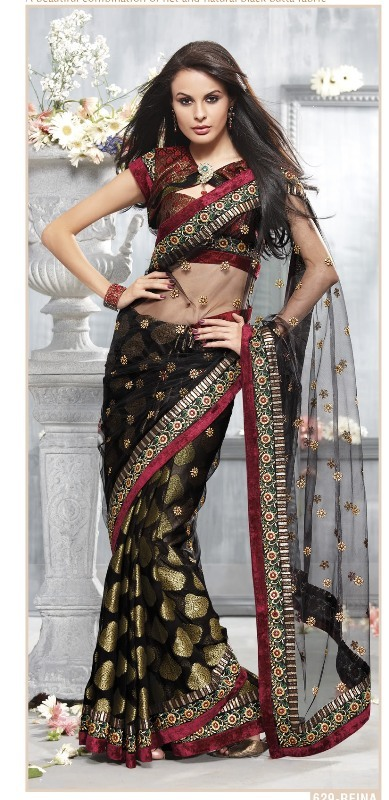 Net Embroidery Sarees