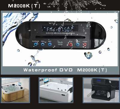 Waterproof DVD Player for Bathroom and AM/FM Receiver