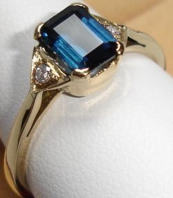 Neon Blue Tourmaline Gold Rings