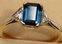 Blue Tourmaline Fancy Gold Rings