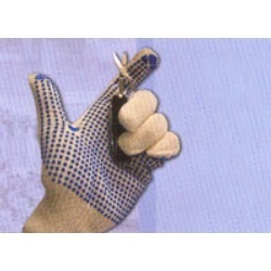 Cotton Seamless Knitted Gloves with PVC Dotting on palm sides