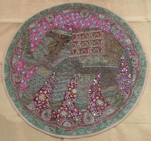 Antique Handmade Wall Tapestry Kundun Lace And Mirror Work