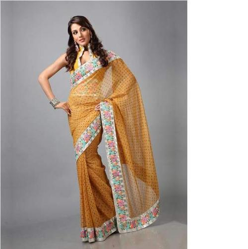 Mustard Pure Shimmer Bandhej Saree with Blouse