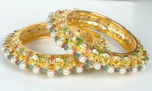 Antique Gemstone Pearl Bangle