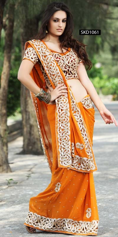 Enrapturing Mustard Saree