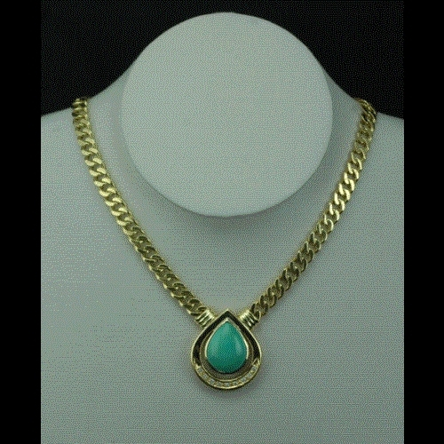 Blue Turquoise Necklace With Diamond