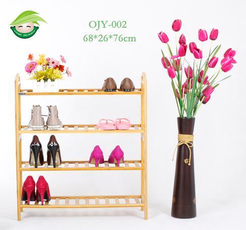 Practical 4-Layer Bamboo Floor Shoe Rack